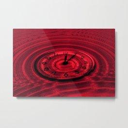 Hands of Time Red Rippling Water Art Motif Metal Print