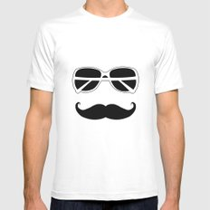 Hipster White Mens Fitted Tee SMALL