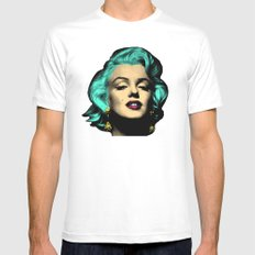 MARILYN BLUE MEDIUM White Mens Fitted Tee