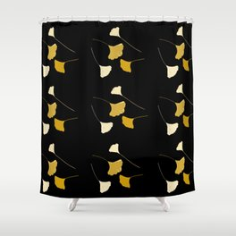 Golden Ginkgo Leaves Shower Curtain