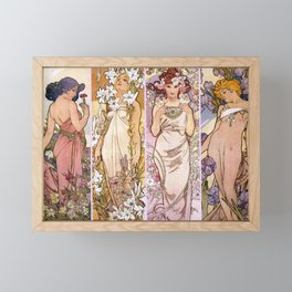 "Alfons Mucha, "" four flowers "" Framed Mini Art Print"