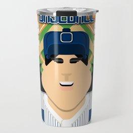 Baseball Blue Pinstripes - Deuce Crackerjack - Amy version Travel Mug
