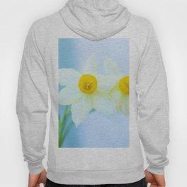 White and yellow narcissus Hoody