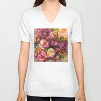 roses V-neck T-shirts featuring Roses by jbjart