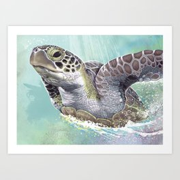 Green Sea Turtle Rides The Waves Art Print