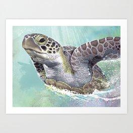 Green Sea Turtle Rides The Waves Art Print