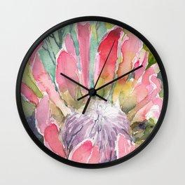 Watercolor Print Protea, Botanical Illustration, Protea Painting Wall Clock