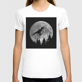 Biker t rex In Sky With Moon 80s Parody T-shirt