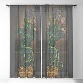Mayan Serpent God Sheer Curtain