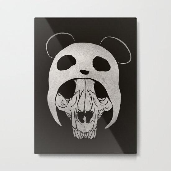 Panda Skull Metal Print