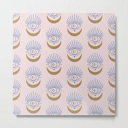 Eyes Moon Pattern Metal Print
