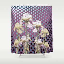 WHITE IRIS ON PUCE COLORED MODERN PATTERNS Shower Curtain