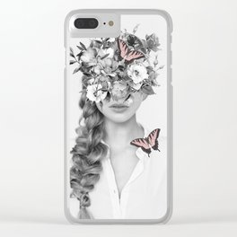 woman with flowers and butterflies 9a Clear iPhone Case