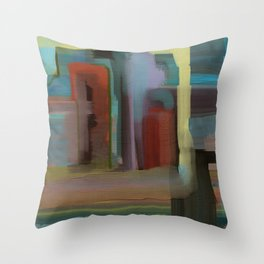 Abstract City, Southwestern Colors Throw Pillow