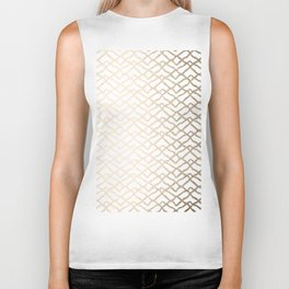 Luxe Gold Painted Geometric Stripes on White Biker Tank