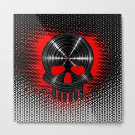 Vinyl Skull RED / The end of tunes Metal Print