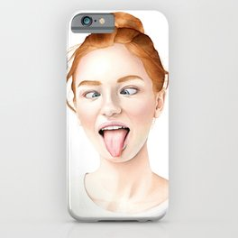 Ginger - Redhead Girl Watercolor Portrait iPhone Case
