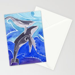 Polynesian humpback whale and calf Stationery Cards