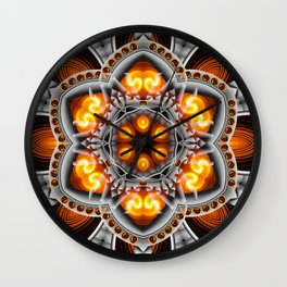Metal & Flame Mandala Wall Clock