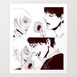 Sunflower kiss Art Print