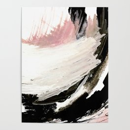 Crash: an abstract mixed media piece in black white and pink Poster