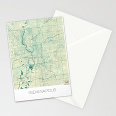 Indianapolis Map Blue Vintage Stationery Cards