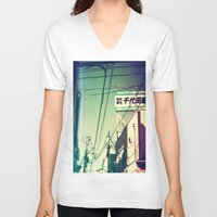 tokyo V-neck T-shirts featuring TOKYO by lizbee