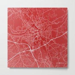 Lowell Map, USA - Red Metal Print
