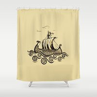 rowing Shower Curtains featuring Viking ship 2 by mangulica illustrations