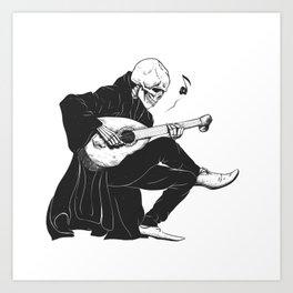 Minstrel playing guitar,grim reaper musician cartoon,gothic skull,medieval skeleton,death poet illus Art Print
