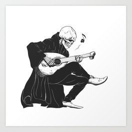 Minstrel playing guitar,grim reaper musician cartoon,gothic skull,medieval skeleton,death poet illus Kunstdrucke