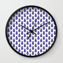 Indian Flowers Blockprint 1 (Dark Blue) Wall Clock