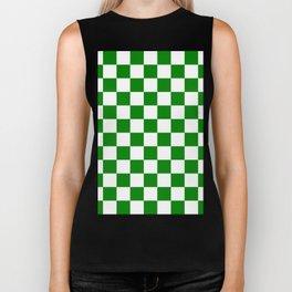 Checkered - White and Green Biker Tank