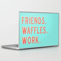 parks and rec Laptop & iPad Skins featuring PARKS AND REC FRIENDS WAFFLES WORK by comesatyoufast
