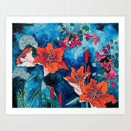 Blooming Night Garden: Twilight Art Print