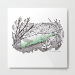 Message in a Bottle - Zentangle Illustration Metal Print
