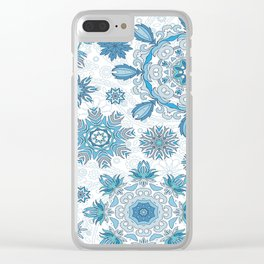 Floral pattern with stylized snowflakes. Christmas winter snow theme pattern. Clear iPhone Case