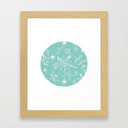 Winter Floral Blue Framed Art Print