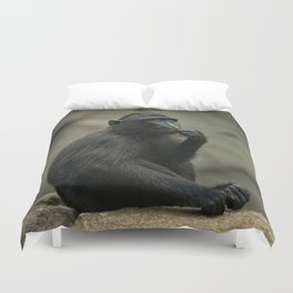 Celebes Crested Macaque Youngster Duvet Cover