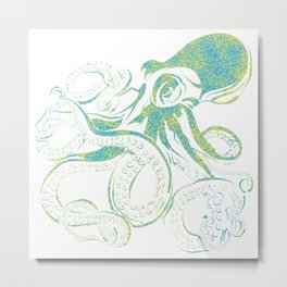 Octopus - blues and yellows Metal Print