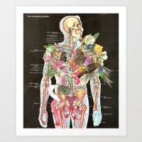 skeleton Art Prints featuring Skeleton by Ben Giles