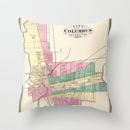 Map of Columbus 1872 Throw Pillow