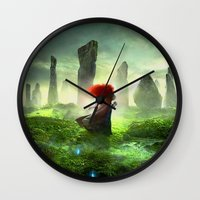 merida Wall Clocks featuring Merida The Brave - Portrait Merida Walking by MarcoMellark