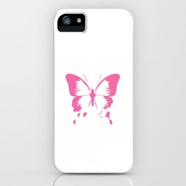 Pinky Anti-Social Pink Butterfly T-shirt Design Shy Quiet Self-conscious Insect Fly Shy Public iPhone Case