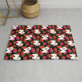 Bichon Frise dogs red rose floral for dog lovers Rug