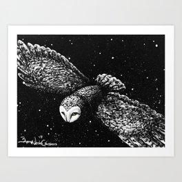 Snow Owl Painting Art Print