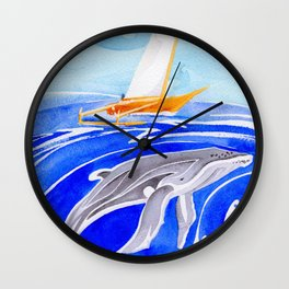 humpback whale and polynesian outrigger sail boat Wall Clock