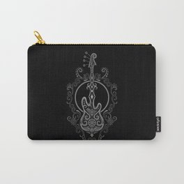 Intricate Gray and Black Bass Guitar Design Carry-All Pouch