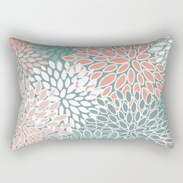 Festive, Floral Prints, Teal and Coral, Abstract Art Rectangular Pillow
