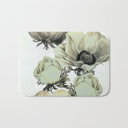 anemone flowers (white background) Bath Mat